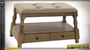 BANQUETTE PIN POLYESTER 85X44X48,5 13,3 2 TIROIRS