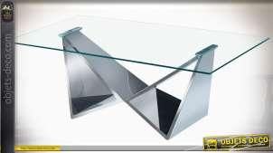 TABLE BASSE ACIER VERRE 120X60X42,5 CHROME