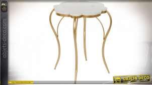 TABLE AUXILIAIRE MÉTAL MARBRE 54X54X60 DORÉ