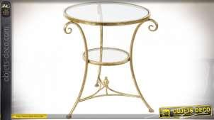 TABLE AUXILIAIRE MÉTAL VERRE 54X54X61,5 DORÉ