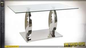 TABLE VERRE ACIER 160X90X76 1,2 MM. CHROME