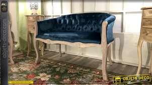 Banquette esprit Louis XV en bois blanchi et velours finition ClassicBlue, 107cm