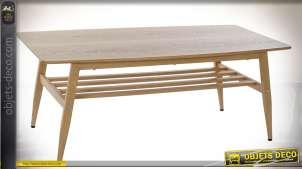 TABLE BASSE BOIS MÉTAL 120X60X47 MARRON