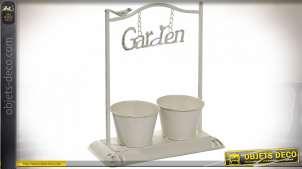 Jardinière de table en métal finition blanc ancien avec oiseaux et inscription Garden suspendue, 38cm