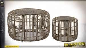 TABLE AUXILIAIRE SET 2 ROTIN 80X80X50 CALANDRE