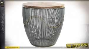 Table d'appoint en métal finition noir et plateau en bois de manguier massif, ambiance moderne, Ø60cm