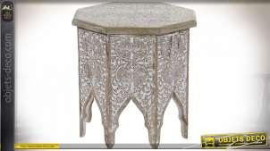 TABLE BASSE MANGUE 45X45X48 FEUILLES DÉCAPAGE