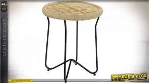 TABLE AUXILIAIRE CORDE MÉTAL 48X57 NATUREL