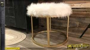 Repose-pieds de style moderne, structure métal doré effet brossé et assise poils longs, 55cm