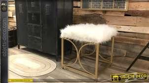 Repose-pieds de style moderne, structure métal doré effet brossé et assise poils longs, forme carrée