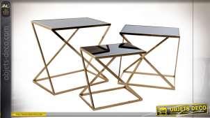 TABLE AUXILIAIRE SET 3 VERRE MÉTAL 60X40X58 DORÉ