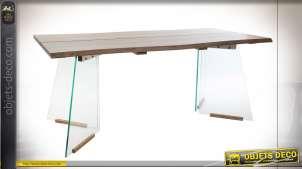 TABLE MDF VERRE 180X90X76 MARRON