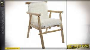 FAUTEUIL CHENE POLYESTER 68X55X85 POILS NATUREL
