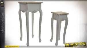 TABLE AUXILIAIRE SET 2 BOIS 35X35X80 NATUREL BLANC