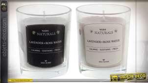 Série de deux bougies parfumées lavande et eau de rose, Ø5.5cm