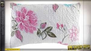 Coussin rectangulaire en coton épais, grosses fleurs roses sur fond blanc cassé, 60x40