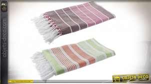 Série de deux grandes serviettes de plage, en coton fin avec franges et pompons, motifs rayés, 170x90cm