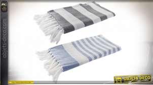 Série de deux grands paréos en coton épais, motifs bayadères gris et bleu, 170x90cm