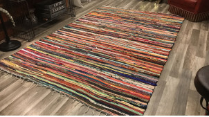 Grand tapis chindi multicolore en coton épais, ambiance contemporaine colorée, 230x160cm