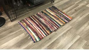 Descente de lit / tapis de salle en coton, style chindi multicolore, ambiance contemporaine colorée, 80x50cm