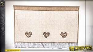 Cantonnière coton écru rétro champêtre à coeurs brodés 100 cm