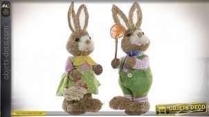 Série de deux lapins en fibres naturelles sur base de polyester, style décoration de Paques, 32cm