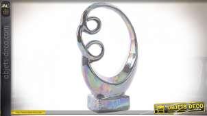 Statuette de forme abstraite, finition irisée effet métal, esprit design, 25cm