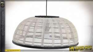 Grand plafonnier en rotin finition foncée et coton blanc, inspiration asiatiques, Ø48cm
