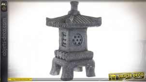 Lanterne pagode grise en fibre de verre éclarairage LED 57 cm