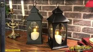 Série de 2 lanternes noir effet vieilli fenêtres ovales 30,5 cm