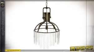 Supension en métal et verre de style industriel chic, finition effet laiton brossé, Ø51cm
