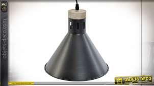 Suspension lumineuse en bois et métal finition noire mate, forme de cloche moderne, 105cm