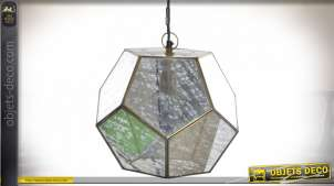 Suspension en métal et verre vieilli, forme géométrique esprit cubique, finition laiton brossé, 33cm