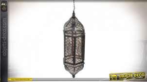 Grande lanterne électrifiée en métal de style orientale, esprit moucharabieh finition noire mate, 71cm