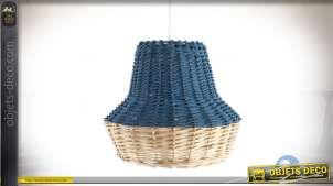 Suspension en osier en forme de cloche, finition bleu moderne et clair naturel, Ø25cm