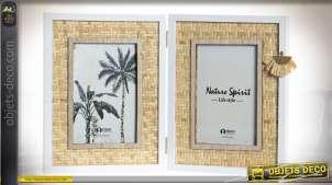 Cadre photo en bois et bambou finition naturelle ambiance exotique, 15cm