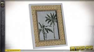Cadre photo à poser en bambou et bois effet tressé, ambiance nature claire, 18cm