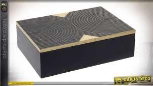 Coffret en bois finition noire et naturelle, motifs géométriques sur le couvercle, 24cm