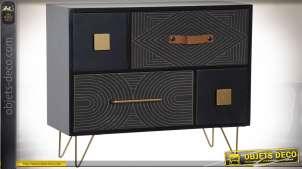 Boite à bijoux multi-tiroirs en bois finition noire, détails dorés et poignée effet cuir, ambiance chic, 35cm