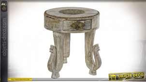 TABLE AUXILIAIRE MANGUE LAITON 38X38X42 ÉLÉPHANT