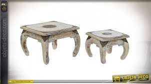 TABLE AUXILIAIRE SET 2 MANGUE LAITON 53X53X38