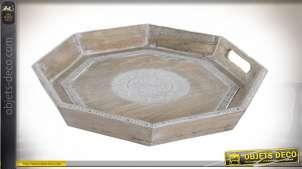 Plateau héxagonale en bois de manguier et bandes de dentelles en alu, finition blanchi, 39cm