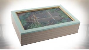 Boite à infusions 6 compartiments en bois et motifs de la jungle, 30cm