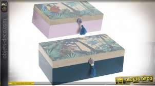 Série de deux coffrets en bois, motifs jungles et animaux sauvages, poignées pompons, 30cm