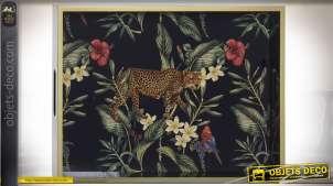 Plateau décoratif en bois et verre avec impression d'un léopard en milieu naturel, finition chic, 40cm