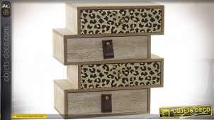 Boite à bijoux en forme de mini meuble à tiroirs, impressions motifs léopard et bois, 24cm