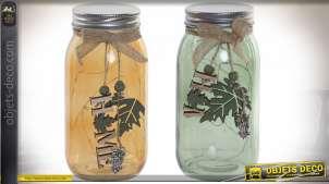 Série de deux pots décoratifs en verre teinté, bois et corde avec LED filamentée à l'intérieur, 18cm