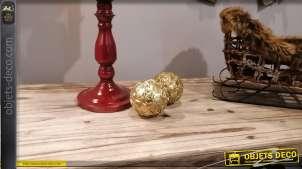 Duo de sphères décoratives en résine, motifs floraux, finition doré ancien, Ø9cm