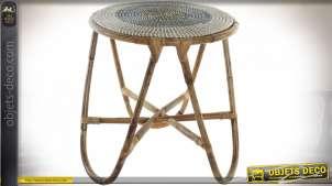 TABLE AUXILIAIRE SEAGRASS ROTIN 48X48X53 BLANC