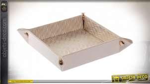 Petit plateau vide poche en tissus, pliant, finition effet capitonné rose satiné, 21cm